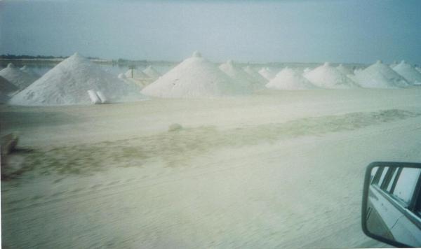 Salt piles at Lac Rose -Pink Lake