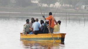Canoe ride on Lac Rose (Pink Lake) Senegal