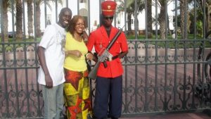 Mounirou Samb and Mayasa Telfair at The Presidential Palace Dakar Senegal