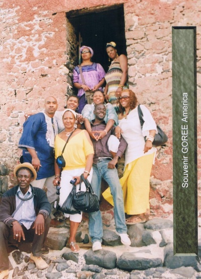 The Group, along with our Tour Guide, Amdy Moustapha Niang at The Door of No Return Goree Island Dakar senegal