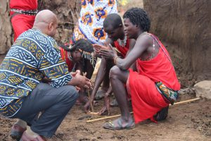 In the Maasai Village observing my Maasai brothers make fire